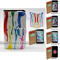 For Apple iPhone Series Case - Colour Paint Print Flip Wallet Phone Case Cover