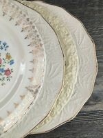 Set of 4 Vintage China Dinner Plates Shabby Chic Wedding Floral Tea Party