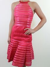 BNWT KAREN MILLEN 100% SILK coral pink organza cocktail dress size 6 34 RRP £180