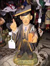"Anri Wood ""Graduate"" Man Wood Carved Hand Painted Rare Vintage Kh"
