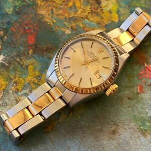ROLEX DATE TWO-TONE REF. 6917 VINTAGE LADIES WATCH 100% GENUINE GOLD