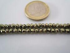 1 filo lungo 33 cm in pietra dura  pirite naturale verde misure 3,80 x 3 mm