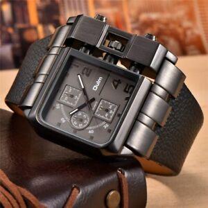 Oulm 3364 Casual Wristwatch Square Oversize Dial Wide Strap Men's Quartz Watch