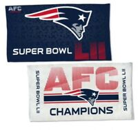 """NEW ENGLAND PATRIOTS Super Bowl LII Fan Towel Double Sided 22"""" x 41"""" AFC Champs"""