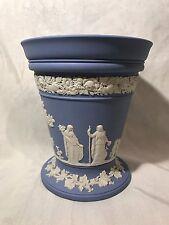 """Vintage Wedgwood Pale Blue Jasperware 7"""" Arcadia Flower Vase With Frog"""