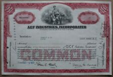 ACF INDUSTRIES INCORPORATED Stock certificate 1973 - Series: NO189945