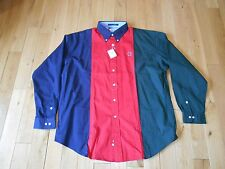 NWT Vintage TOMMY HILFIGER GOLF Buttom Up Tri Color Long Sleeve Shirt Mens XL