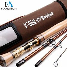 8WT Fly Rod 9FT 4Piece Fast Action (Graphite IM12) Fly Fishing Rod&Cordura Tube