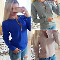 Women Zip Up V Neck Sweatshirt Ladies Winter Casual Jumper Pullover Tops Fashion