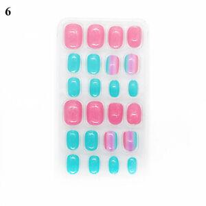 24 Pcs/Bag False Nail Full Cover Nails Art Cute Decor Manicure For Girls Kids