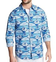 Nautica Mens Shirt Blue Size 3XL Classic-Fit Stretch Printed Button Down $69 123