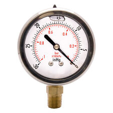 "Hfs(R) 2-1/2"" Oil Filled Vacuum Pressure Gauge-Ss/Br 1/4"" Npt Lower Mount-30Hg/0"