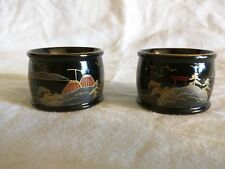 Set of 2 Vintage Made in Japan Black lacquer napkin rings hand painted Scenery
