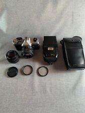 Fujica STX-1 35mm SLR Film Camera Bundle X-Fujinon 1.9, 2.2 Lenses 300X Flash +