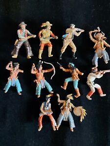 Alte Cowboy und Indianerfiguren-Bespielt-Hersteller?-1960er-1970er Jahre.
