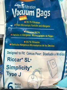 RICCAR SL+ AND SIMPLICITY TYPE J VACUUM CLEANER BAGS PAPER BAGS PACK OF 6