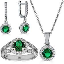 Реальный 925 серебряный зеленый изумруд бриллиант кольцо кулон ожерелье серьги комплект ювелирных изделий