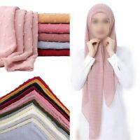 Women's Plain Chiffon Scarf Hijab Shawls Muslim Wraps Headband Scarves Muffler