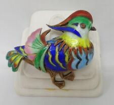 Rare Colorful Chinese Mandarin Duck Bird Enamel Silver Gold Gilt Filigree Pin