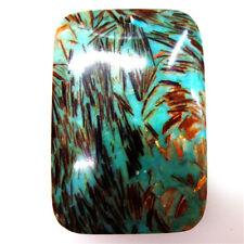Pretty Turquoise & Gold Copper Bornite stone  Pendant Bead 45*30*6mm M415