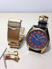 Orologio Vintage Seiko 5 Automatico Gold 7009 Day_date Mm 35 Watch W.r. Blu Dial