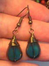 Handmade Trinkets Artisan Earrings Bronze Wire Wrap Blue Teardrops JMe