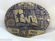 Very Rare Texas Sesquicentennial Belt Buckle Solid Brass Hand Carved
