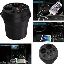 Multiple USB Ports Dual Cigarette Lighters Plugs LED Display Car Charger Outlets