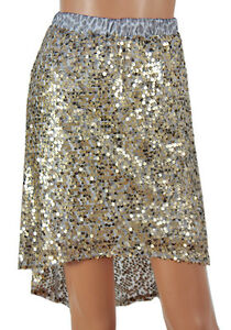 Sequin skirt silver / gold stretch party prom size 6 8 10 12 Sparkle