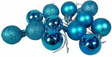 Pack Of 12 - Turquoise 30mm Baubles - Christmas Decorations - (DP153)