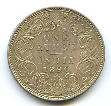 INDIA QUEEN VICTORIA ONE RUPEE 1890 C CALCUTTA KM 492