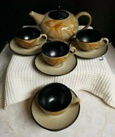 "Pier 1 ""Kioko"" Teapot Set Includes Teapot with Lid and 4 Cups/Saucers EUC"