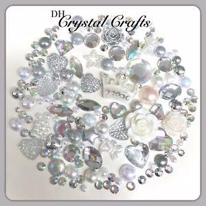 Crown Theme White Silver & Aurora Borealis Cabochons Gems Pearls flatbacks #5