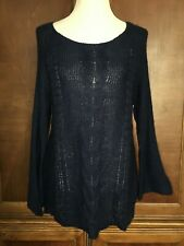 M Medium New Directions Blue Scoop Neck Sweater Long Flare Sleeves Cableknit
