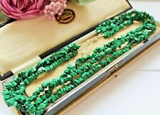 MALACHITE BEADED NECKLACE WITH STERLING SILVER CLASP - 3 STRAND