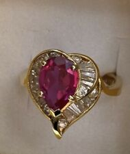 Franklin Mint Ladies Ruby Ring - Size 7 Gold Over Silver