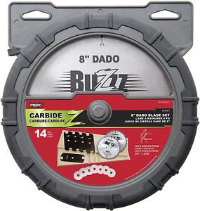 "MIBRO 416381 8"" Carbide Stacking Dado Blade Set 14 Pieces 1 Pack Groove Saw New"