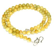 Yellow Sapphire Gemstone 4-5mm Beads 925 Sterling Silver 46cm Strand Necklace