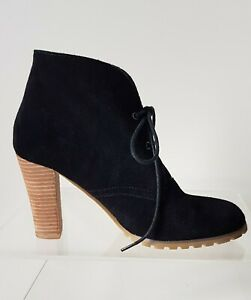 Boston Bebe AU 8.5 Black Suede Leather Lace Up Block Heel  Shoe Ankle Boots