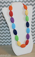 Teething Necklace Nursing Jewelry Oval Rainbow Silicone Beads Baby Teether Gift