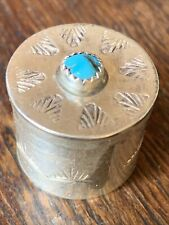 WONDERFUL NATIVE AMERICAN STERLING SILVER TURQUOISE PILL TRINKET BOX
