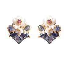 HANABE KOREA Handmade Silver Stud Flower Mother of Pearl Fashion Earrings Blue