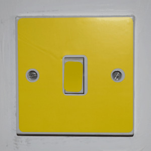 Yellow Light Switch Sticker - Bedroom / Garage / Shed