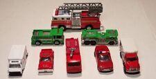 Lot OF 8 VINTAGE 2 Hot Wheels FIRE TRUCKS, EMERGENCY VEHICLES & Bull Horn-Works