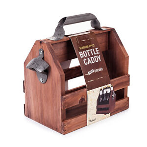 Bottle Wooden Caddy Beer Opener Wine Pack Holder Carrier 6 New Crate Glass Six