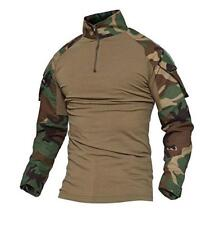 TACVASEN Men Tactical Military Combat Shirt Pockets Camouflage Breathable Shirts