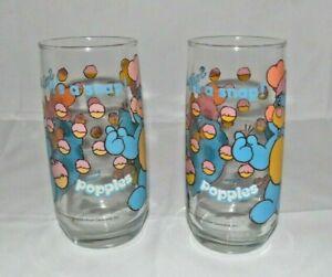 2 Vtg.1986 Popples P.C. Blue Popple Drinking Glass Pizza Hut Collector Series