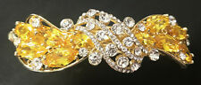 New Stunning  Gold With Amber & Clear Crystal 3 1/2 '' Hair Claw Clip