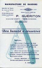 BUVARD PUBLICITAIRE / MANUFACTURE DE RASOIR / THIERRAZOR / GUERITON / THIERS