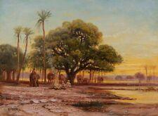 Carl Rudolf HUBER tableau orientaliste autrichien éléphant orientalisme Autriche